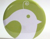Pocket Mirror - Party Favor or Bridesmaid Gift - Peeking Bird Green Mirror With Pouch - Buy 3 Get The 4th FREE
