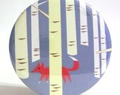 Pocket Mirror - Party Favor,  Bridesmaid Gift or Stocking Stuffer - Fox in Forest Mirror With Pouch - Buy 3 Get The 4th FREE
