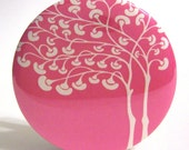 Pocket Mirror - Party Favor, Bridesmaid Gift or Stocking Stuffer - Mod Tree Pink Mirror With Pouch - Buy 3 Get The 4th FREE