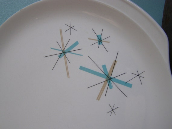 Retro Serving Platter Tray With Atomic Pattern North Star