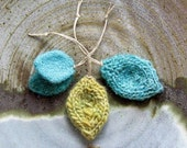 knit leaves SEA of CORTEZ - set of 3 ornaments