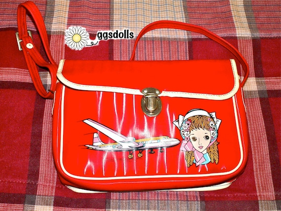 Vintage Showa Era 60s Retro Girl Macoto Style Anime Airline Bag Purse in Red