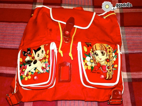 Vintage Showa Era 60s Retro Girl n Kitty Macoto Style Anime Kinder Backpack Bag Purse in Red Used