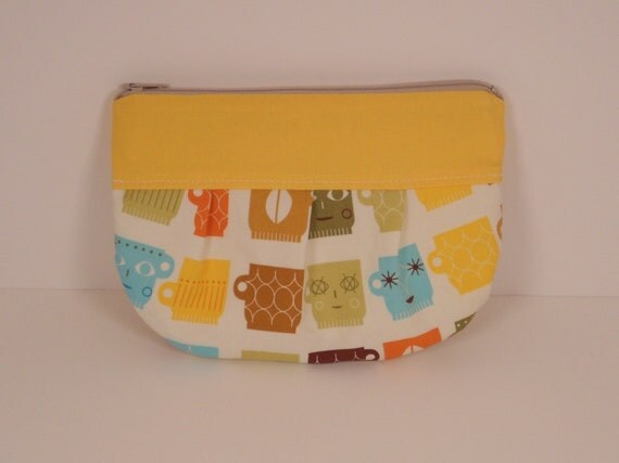 Yellow Blue Olive Vintage Coffee Cups Pleated Leigh Wallet Gadget Case