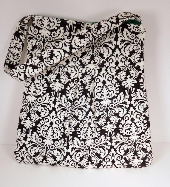 Black & White Damask Purse w/ Green Lining Audrey Bag