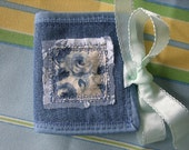 Blue Roses Linen  and Lace Denim Needle Book