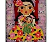 FRIDA KAHLO and DOLL  7x9 PRINT of original FOLK ART PAINTING by LuLu