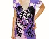Lynx Cat Bobcat Tshirt - black ink screenprint on purple acidwash cotton v neck - Unisex sizes M, L