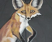 RESERVED for LISA Handpainted Red Fox hoodie with tail on the back - Unisex size Medium - one of a kind wearable art