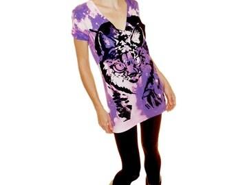 Lynx Cat Bobcat Tshirt - black ink screenprint on purple acidwash cotton v neck - Unisex sizes M, L OOAK