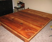Platform Bed Frame With Drawers From Reclaimed Antique Pine