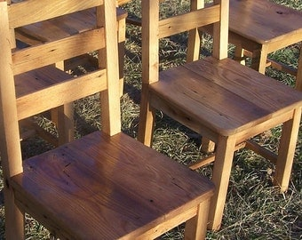 Reclaimed Antique Wormy Chestnut Rustic Dining Chairs