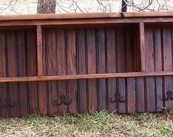 Reclaimed Pine Coat Rack Cubby Shelf with Bead Board Back