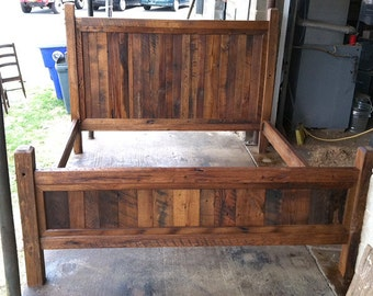 king size bed frame made with beveled posts