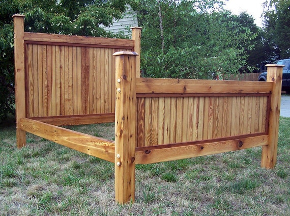Heart Pine Bed Frame Made From Reclaimed Antique Barnwood