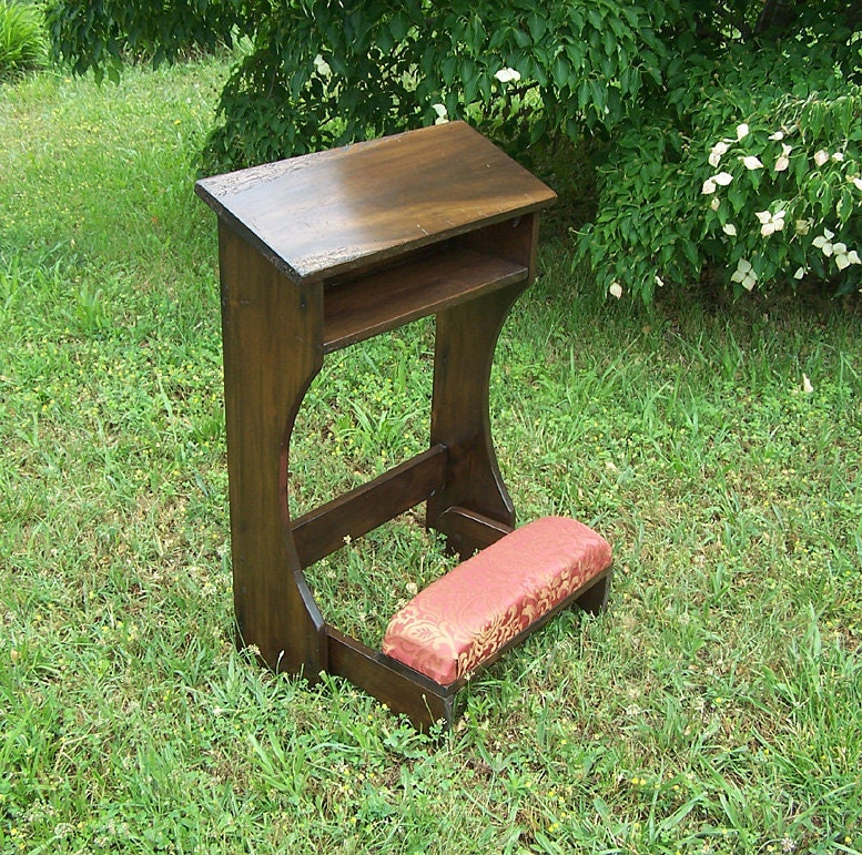 folding prayer kneeler or prie dieu from reclaimed wood