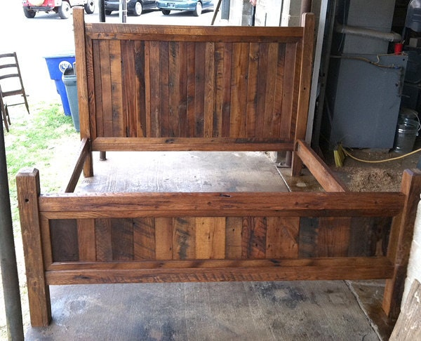 King size bed frame made with beveled posts Rustic bed frames