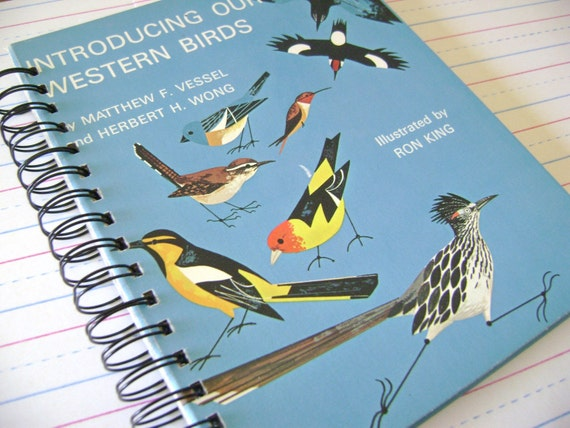 Our Western Birds , A Vintage Recycled Book Journal , Handmade