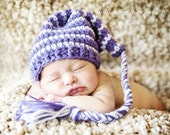 Pick-your-colors-stocking hat with a long braid for baby up to 24 months