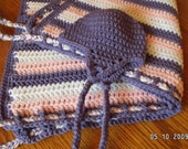Name-your-colors braided blanket and hat set hand-crocheted for baby