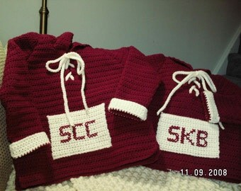 Hoodie Sweater Crocheted and Personalized for Infant, Toddler or Child