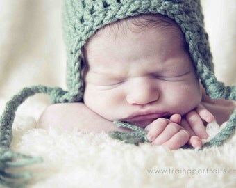 Sage Green (or any color) Earflap Hat for baby up to 24 months - great photo prop