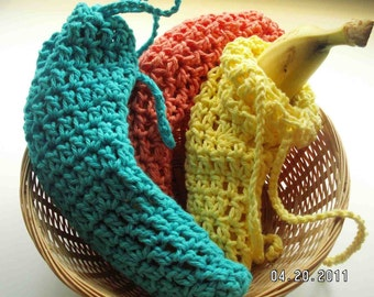 Banana Sack - Great for back to school - a hand-crocheted bag perfect for any size banana