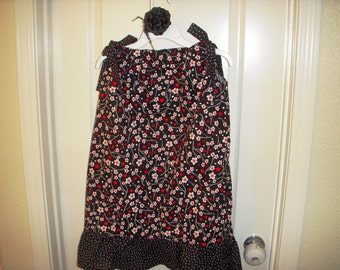 2 in 1 Girls Pillowcase Ruffled Dress with Hair Clip Set  sz 7 Black w/ Blossoms Ready to ship