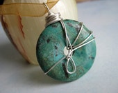 Turquoise Wire Wrapped Pendant Necklace - Sterling Silver