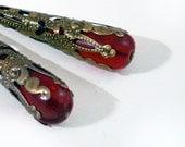 Ruby Red Drop Earrings Wrapped in Bronze