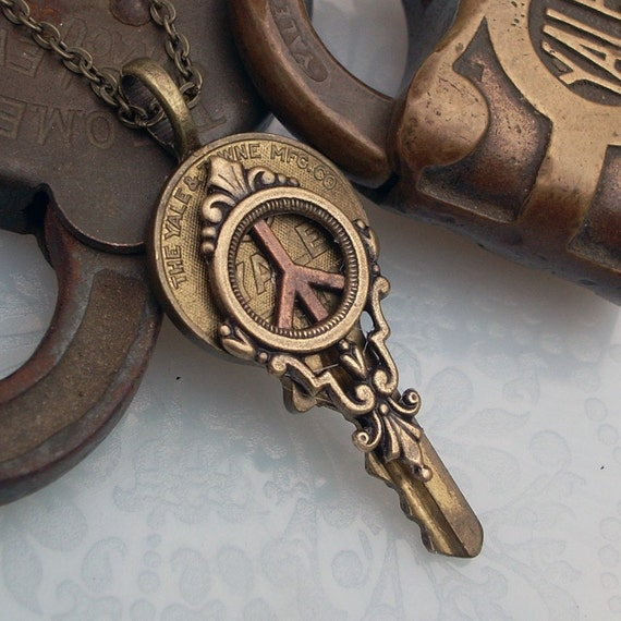 Key to World Peace - Steampunk Pendant