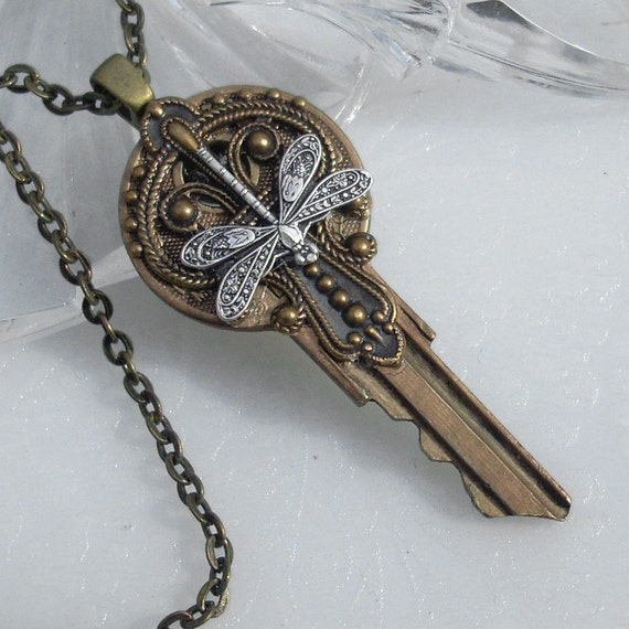Victorian Silver Dragonfly - Key Pendant