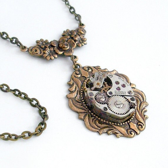 Steampunk Necklace Handmade Jewelry - Time to Smell the Roses - Steampunk Pendant