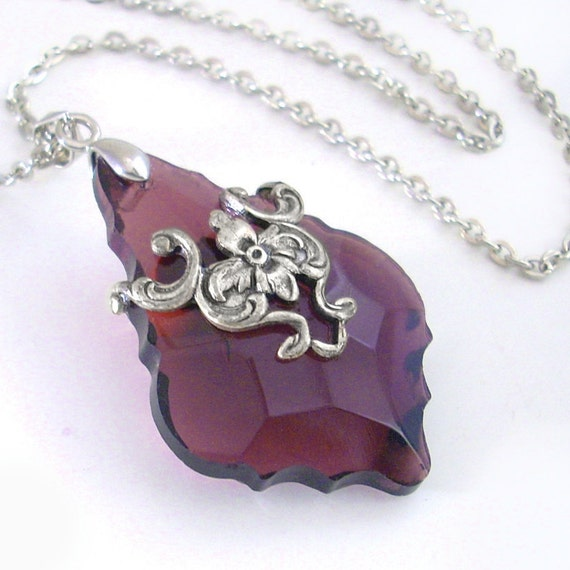 French Cut Deep Amethyst Color Prism in Silver Filigree Necklace Jewelry Crystal Jewellery