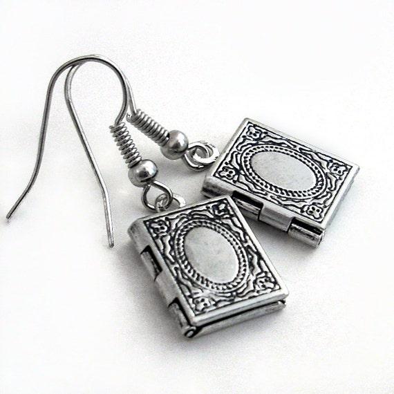 Keepsake Silver Locket Earrings