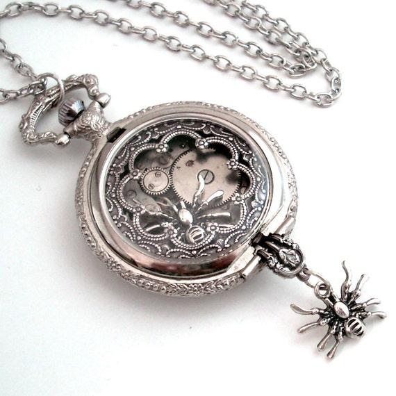 Creepy Spiders - Pocket Watch Art Collage Steampunk Pendant Jewelry