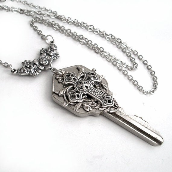Key to Spirituality - Recycled Key Pendant Necklace Jewelry