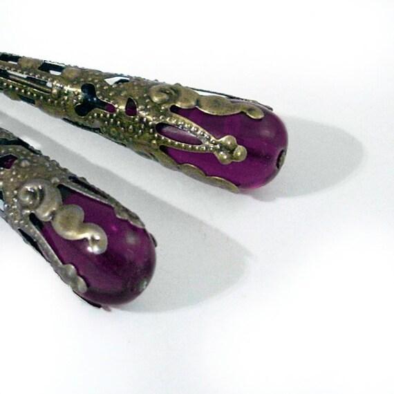 Deep Purple Glass Earrings Wrapped in Bronze Handmade Jewelry
