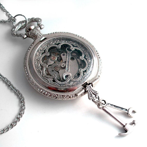 Wrench in the Works - Pocket Watch Art Collage Steampunk Pendant Jewelry