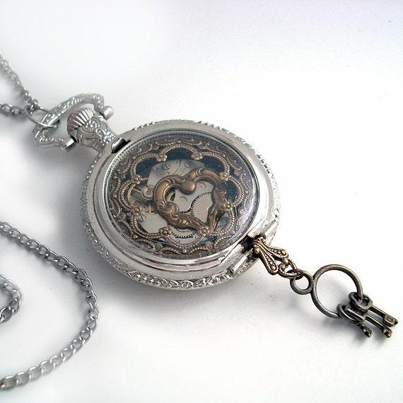 Locked Heart - Pocket Watch Art Collage Steampunk Pendant Jewelry