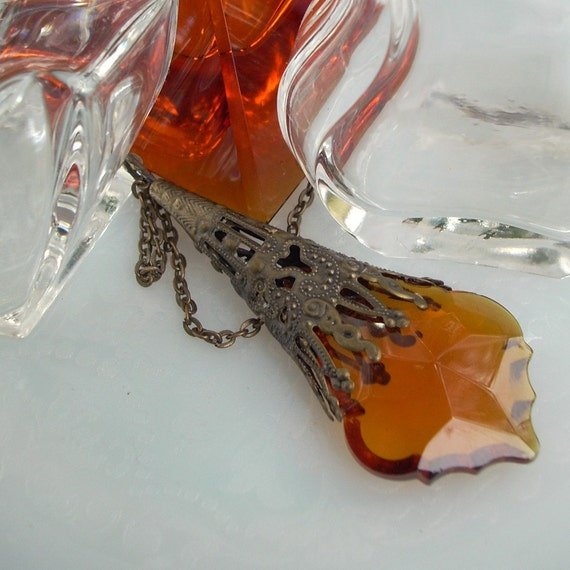 Fiery Sunset - French Cut Amber Prism in Bronze Filigree