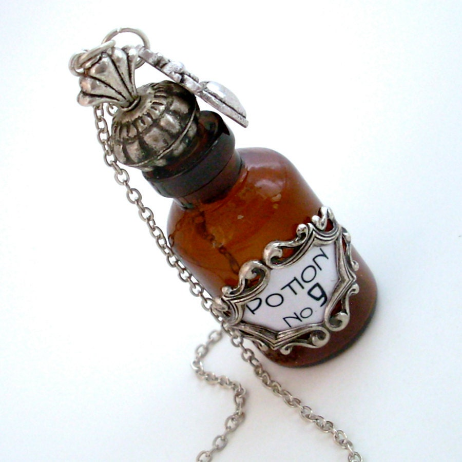 love potion number 9 silver and amber bottle necklace