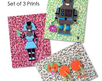 Robot Family - Oliver, Maria and Otis -  Set of (3) 8.5 x 11 art prints of original paper sculptures by Tiffany Budzisz