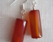 carnelian tube earrings