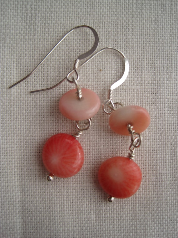 pink coral double dangles