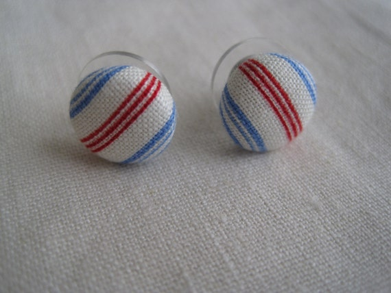 red, white, and blue striped button earrings