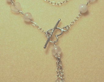 Rose quartz and Heart Toggle Necklace