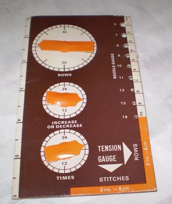 Knitting Needle Row Counters : Vinrage knitting needle gauge and row counter and tension