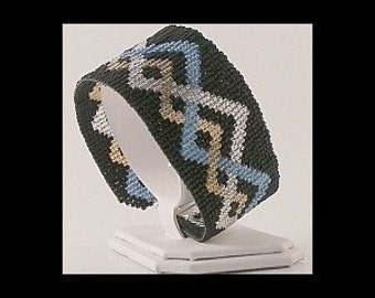2 Patterns for 1 Price - Loom or 5 Drop Even Peyote Bead Patterns - Celtic Pewter Cuff Bracelets