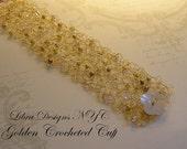 Crocheted Wire Cuff, Golden Crocheted Cuff, Beaded Bracelet, Made to Order, Handmade Bracelet, For Her, Gift For Her, CUSTOM ORDER